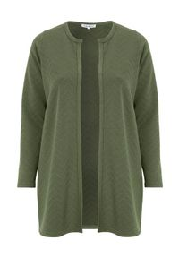 Zielony sweter Zhenzi długi, z długim rękawem, elegancki, na co dzień