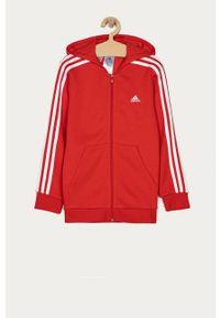 Czerwona bluza rozpinana Adidas casualowa, na co dzień, z kapturem, gładkie