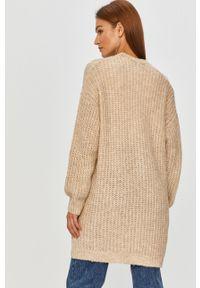 Beżowy sweter rozpinany Answear Lab na co dzień, z długim rękawem, długi, wakacyjny