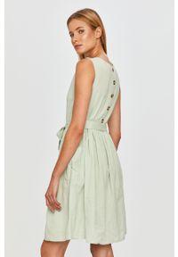 Zielona sukienka Vila z okrągłym kołnierzem, mini, na co dzień