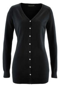 Długi sweter rozpinany bonprix czarny. Kolor: czarny. Długość: długie. Styl: klasyczny