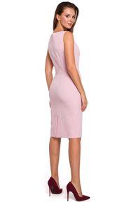 Makover - Klasyczna elegancka sukienka midi z dekoltem V. Okazja: do pracy, na randkę, na imprezę. Długość rękawa: bez rękawów. Styl: klasyczny, elegancki. Długość: midi