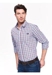 Czerwona koszula TOP SECRET na co dzień, z krótkim rękawem, długa, w kratkę