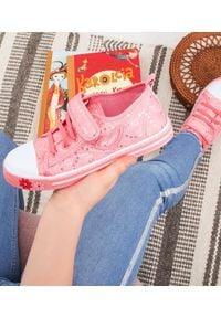 UNDERLINE - Trampki dziecięce Underline 25B1624 Różowe. Zapięcie: rzepy. Kolor: różowy. Materiał: skóra, tkanina, guma