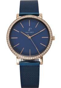 Zegarek Gatsby Damski niebieski z cyrkoniami (JPG1052). Kolor: niebieski