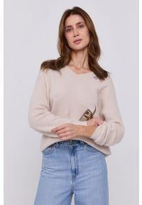 Miss Sixty - Sweter. Kolor: beżowy. Wzór: aplikacja
