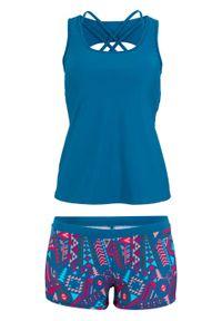 Niebieski strój kąpielowy bonprix z nadrukiem, z wyjmowanymi miseczkami