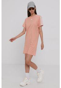 Adidas - adidas - Sukienka bawełniana. Okazja: na co dzień. Kolor: pomarańczowy. Materiał: bawełna. Typ sukienki: proste. Styl: casual