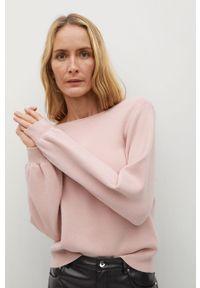 Różowy sweter mango gładki, na co dzień, casualowy