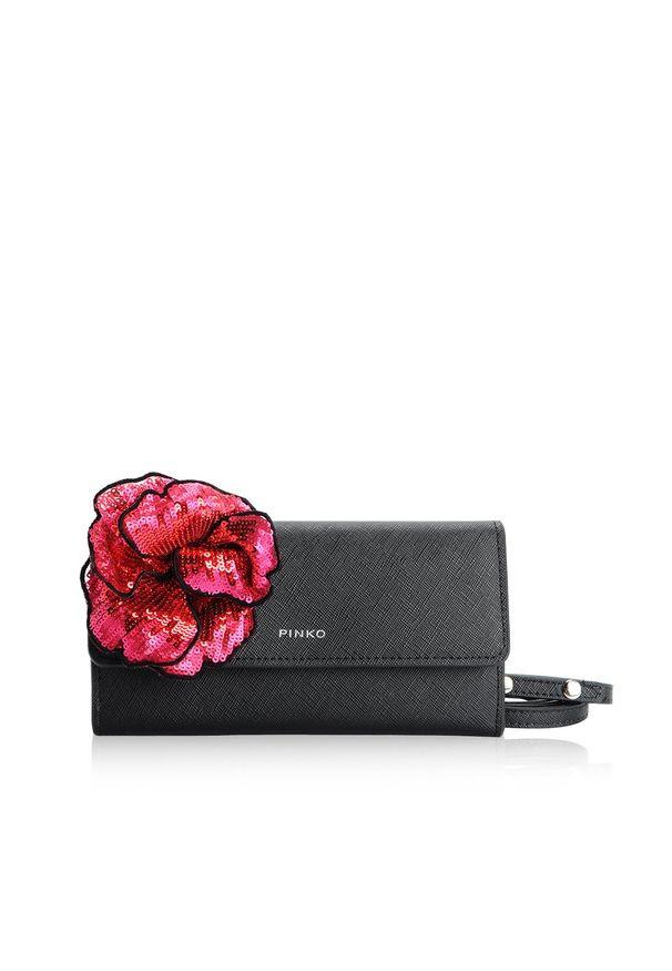 Srebrny portfel Pinko w kwiaty