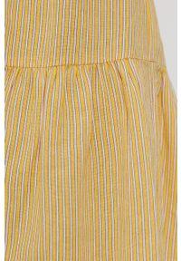 Vero Moda - Spódnica. Kolor: żółty. Materiał: tkanina, bawełna