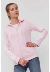 Różowa bluza rozpinana Adidas gładkie, z kapturem, na co dzień