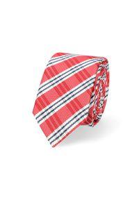 Lancerto - Krawat Czerwony w Kratę. Kolor: czerwony. Materiał: mikrofibra, materiał. Styl: elegancki