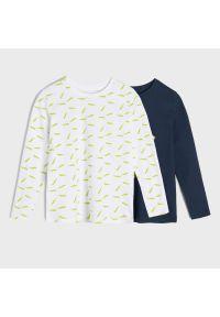 Sinsay - Koszulki z nadrukiem 2 pack - Granatowy. Kolor: niebieski. Wzór: nadruk #1