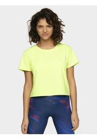 4f - T-shirt damski. Kolor: żółty. Materiał: dzianina. Długość: krótkie