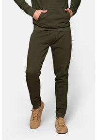 Lancerto - Spodnie Zielone Dresowe Swinton. Kolor: zielony. Materiał: dresówka. Wzór: kolorowy, napisy