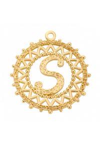 MOKOBELLE - Pozłacany naszyjnik z kulkami i literką 50-60 cm. Materiał: pozłacane. Kolor: złoty. Wzór: ażurowy, aplikacja #5