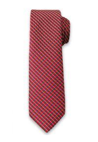 Oryginalny Krawat Męski w Białe Prążki, w Kratkę - 6 cm - Alties, Kolorowy. Kolor: czerwony. Materiał: tkanina. Wzór: geometria. Styl: klasyczny, wizytowy, elegancki