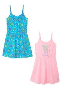 Sukienka dziewczęca z dżerseju (2 szt.), bawełna organiczna bonprix niebieski karaibski + pudrowy jasnoróżowy. Kolor: niebieski. Materiał: bawełna, jersey. Wzór: aplikacja. Sezon: lato