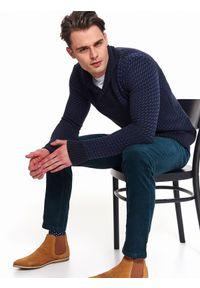 Niebieski sweter TOP SECRET elegancki, na zimę, na co dzień