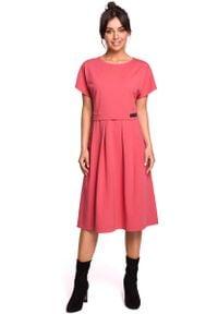 MOE - Koralowa Rozkloszowana Sukienka Dzianinowa. Kolor: pomarańczowy. Materiał: dzianina