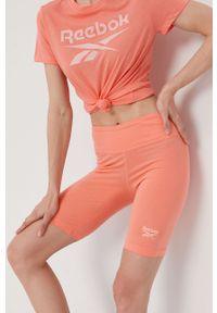 Pomarańczowe szorty Reebok z nadrukiem, sportowe