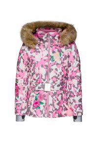 Różowa kurtka narciarska Poivre Blanc z podwójnym kołnierzykiem, z aplikacjami