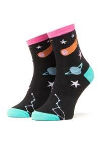 Dots Socks - Skarpety Wysokie Unisex DOTS SOCKS - DTS-SX-422-A Czarny Kolorowy. Kolor: czarny. Materiał: elastan, poliamid, bawełna, materiał. Wzór: kolorowy