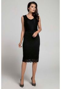 Nommo - Czarna Dopasowana Sukienka Koronkowa bez Rękawów. Kolor: czarny. Materiał: koronka. Długość rękawa: bez rękawów