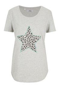 T-shirt z aplikacją bonprix jasnoszary melanż - zielony oceaniczny leo. Kolor: szary. Wzór: aplikacja, melanż #1