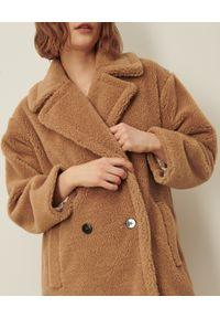 Marella - MARELLA - Brązowy płaszcz z dodatkiem wełny Perak. Kolor: brązowy. Materiał: wełna