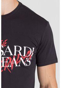 Czarny t-shirt Trussardi Jeans z okrągłym kołnierzem, klasyczny, z nadrukiem