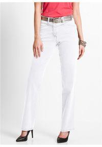 Dżinsy ze stretchem bonprix biały. Kolor: biały. Wzór: haft