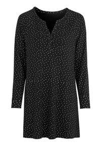 Cellbes Dżersejowa tunika we wzory z raglanowymi rękawami Czarny we wzory female czarny/ze wzorem 42/44. Okazja: na co dzień. Kolor: czarny. Materiał: jersey. Długość rękawa: raglanowy rękaw. Długość: długie. Styl: elegancki, casual