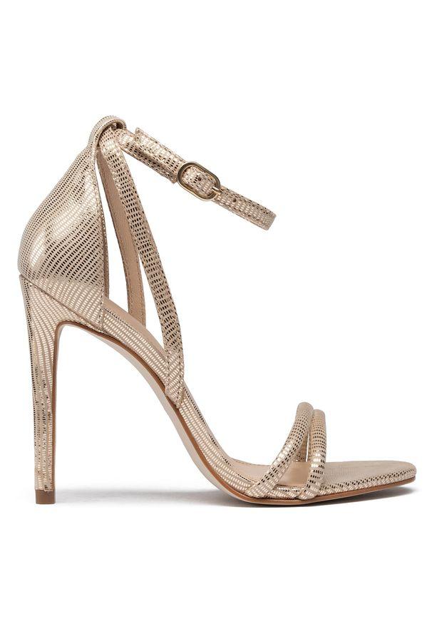 Złote sandały Eva Longoria wizytowe