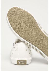 Białe tenisówki Pepe Jeans na średnim obcasie, na obcasie, z okrągłym noskiem, na sznurówki #4