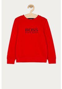 Czerwona bluza BOSS bez kaptura, casualowa, na co dzień, z nadrukiem