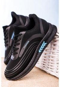 Casu - czarne buty sportowe sznurowane casu 20y04/b. Kolor: czarny