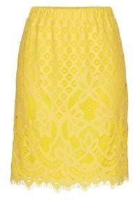 Spódnica koronkowa bonprix kremowy żółty. Kolor: żółty. Materiał: koronka. Styl: elegancki