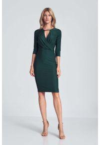 Figl - Dopasowana Sukienka z Przekładanym Dekoltem - Zielona. Kolor: zielony. Materiał: poliester, wiskoza, elastan