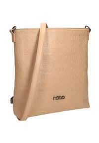 Nobo - Torebka damska beżowa NOBO NBAG-J3681-C015. Kolor: beżowy. Wzór: aplikacja. Materiał: skórzane. Rodzaj torebki: na ramię