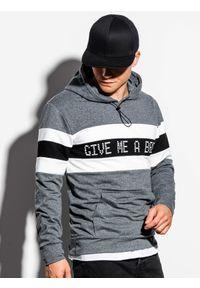 Ombre Clothing - Bluza męska z kapturem B1066 - grafitowa - XXL. Typ kołnierza: kaptur. Kolor: szary. Materiał: bawełna, poliester. Wzór: nadruk