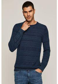 Niebieski sweter medicine casualowy, z okrągłym kołnierzem, na co dzień