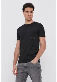 Calvin Klein Jeans - T-shirt bawełniany. Okazja: na co dzień. Kolor: czarny. Materiał: bawełna. Wzór: gładki. Styl: casual