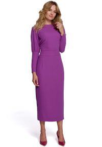 Fioletowa sukienka wizytowa MOE z dekoltem na plecach, maxi
