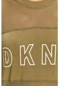 Oliwkowa bluza DKNY bez kaptura, z nadrukiem, casualowa