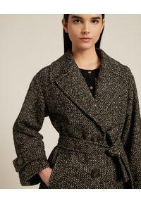 Luisa Spagnoli - LUISA SPAGNOLI - Płaszcz Sostegno. Kolor: brązowy. Materiał: wełna. Długość rękawa: długi rękaw. Długość: długie. Styl: klasyczny