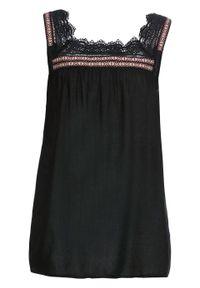 Czarna bluzka bonprix bez rękawów, w koronkowe wzory