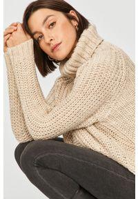 Beżowy sweter Answear Lab z golfem, długi