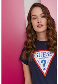 Niebieska bluzka Guess z nadrukiem, na urodziny, casualowa